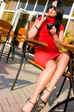 Pretty woman in street cafe Royalty Free Stock Image