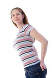 Pretty woman in stripy t-shirt smiling Stock Images