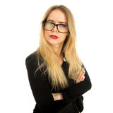 Pretty woman in stylish black clothes and glasses posing Stock Photos