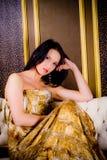 Pretty woman in stylish dress Stock Photos