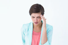Pretty woman suffering from head ache Royalty Free Stock Photos
