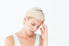 Pretty woman suffering from headache Royalty Free Stock Photography