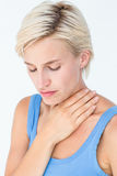 Pretty woman suffering from throat pain Royalty Free Stock Images