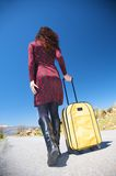 Pretty woman with suitcase Stock Images