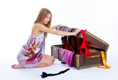 Pretty woman with suitcase Stock Image