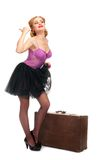 Pretty woman with suitcase Royalty Free Stock Photography