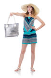 Pretty woman with summer handbag Stock Photography