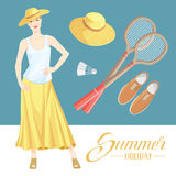 Pretty woman on summer holiday. Vector illustration of woman in summer clothes on color background. Pretty girl in white top and beige skirt. Set of badminton Royalty Free Stock Image