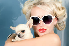 Pretty woman in sunglasses with small chihuahua Royalty Free Stock Image