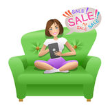 Pretty woman surfing in internet with her tablet and doing shopping online Stock Photos