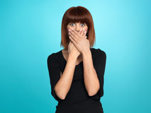 Pretty woman with surpised face expression Royalty Free Stock Photos