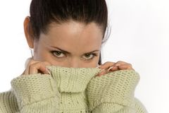 Pretty woman in sweater Royalty Free Stock Images