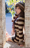 Pretty Woman in Sweater Dress Royalty Free Stock Photography