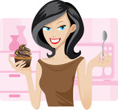 Pretty woman with sweetie cupcake. Illustration of pretty woman with sweetie cupcake. Concept of people lifestyle Stock Image