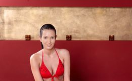 Pretty woman in swimsuit Royalty Free Stock Image