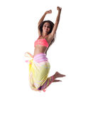 Pretty woman in swimsuit and cape happy jump Stock Photos