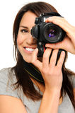 Pretty woman taking pictures Royalty Free Stock Photo