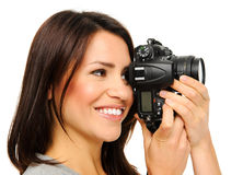 Pretty woman taking pictures Stock Photos