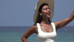 Pretty Woman Taking Selfies At Ocean stock video