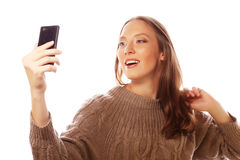 Pretty woman taking selfies Stock Images