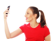 Pretty woman taking selfies Stock Photo