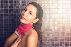 Pretty Woman Taking Shower with Hand Glove Royalty Free Stock Photos
