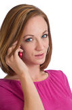 Pretty woman talking on a cell phone Royalty Free Stock Images