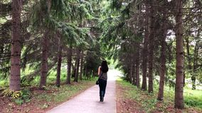 Woman talking on her Mobile phone while she walks along the walkway stock video