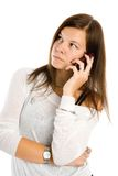 Pretty woman talking by mobile phone Stock Image