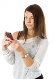 Pretty woman talking by mobile phone Royalty Free Stock Image
