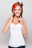 Pretty woman talking on the phone Royalty Free Stock Photos