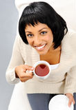 Pretty woman with tea Royalty Free Stock Photo