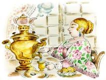 Pretty woman at tea table with samovar. Illustration Stock Photo