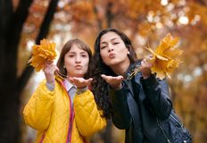 Pretty woman and teen girl are posing with bunch of maple`s leaves in autumn park. They are training for kiss. Beautiful landscap royalty free stock image