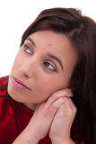 Pretty woman thinking with hand on the face Royalty Free Stock Image