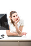 Pretty woman thinking in her office Stock Photography