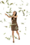 Pretty woman throwing money. Pretty woman throwing 100 dollar bills, isolated on white background Stock Photos
