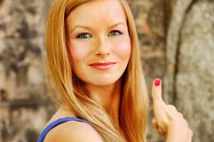 Pretty woman - thumb up Royalty Free Stock Image