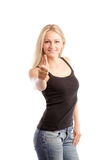 Pretty woman thumbs up Royalty Free Stock Photos
