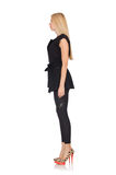 Pretty woman in tight black pants isolated on Stock Image