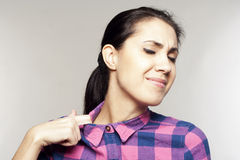 Pretty woman with tightness collar. Pretty young woman with tightness collar Royalty Free Stock Photography