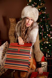 Pretty woman tired of christmas shopping Stock Photo