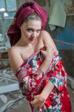 Pretty woman with a towel Royalty Free Stock Photos