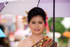Pretty woman in traditional dress in Ordination parade. Stock Image