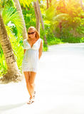 Pretty woman on tropical island Stock Photography