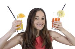 Pretty woman with two drinks Royalty Free Stock Photos