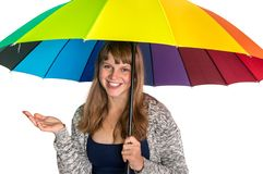 Pretty woman under colorful umbrella isolated on white stock images