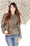 Pretty woman under umbrella Stock Photography