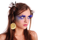 Pretty woman with unusual make-up Royalty Free Stock Image
