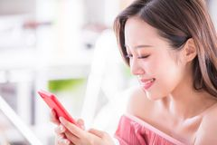 Woman use smart phone royalty free stock photos